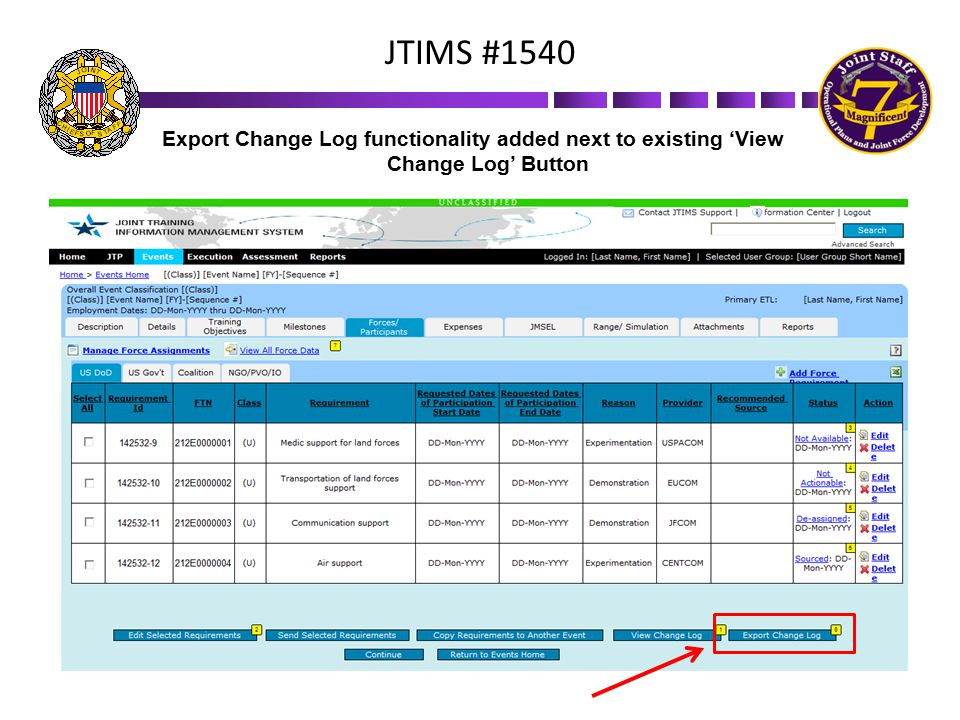 JTIMS #1540 Export Change Log functionality added next to existing 'View Change Log' Button 19