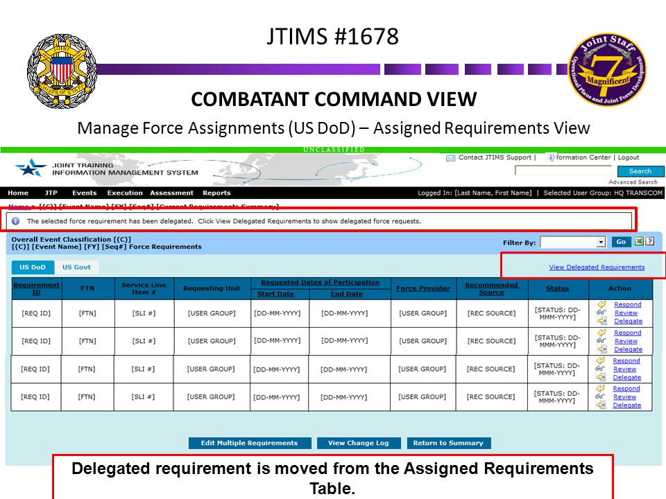 JTIMS #1678 COMBATANT COMMAND VIEW