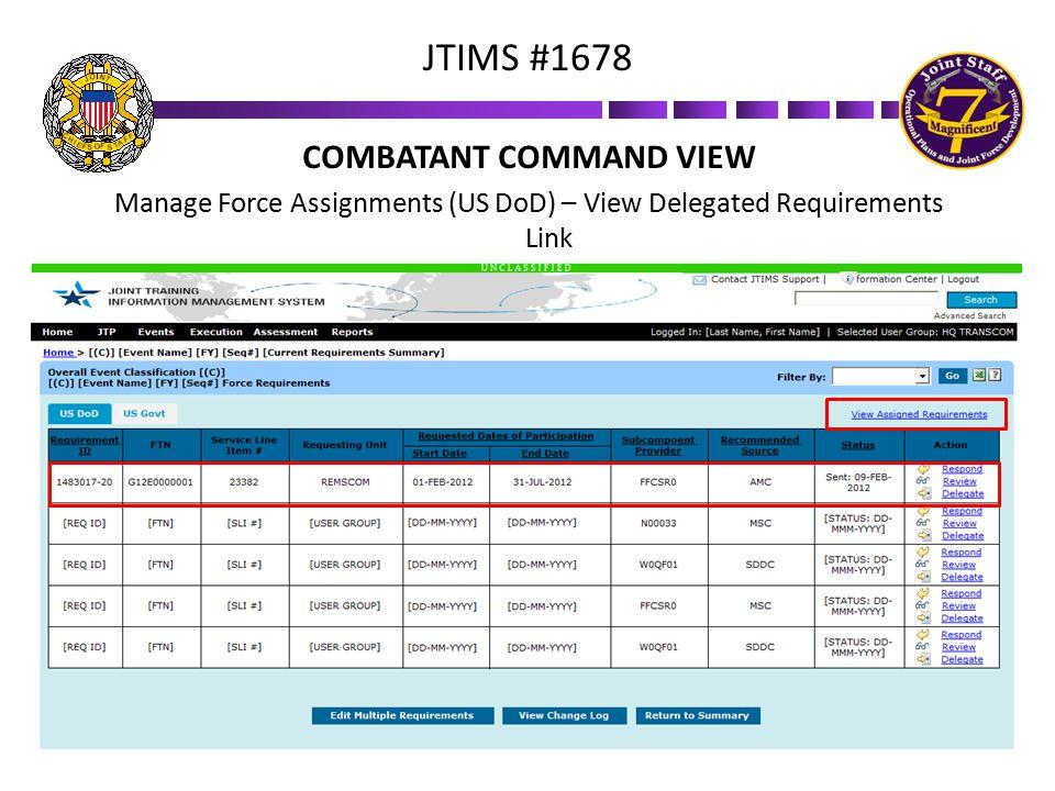 COMBATANT COMMAND VIEW