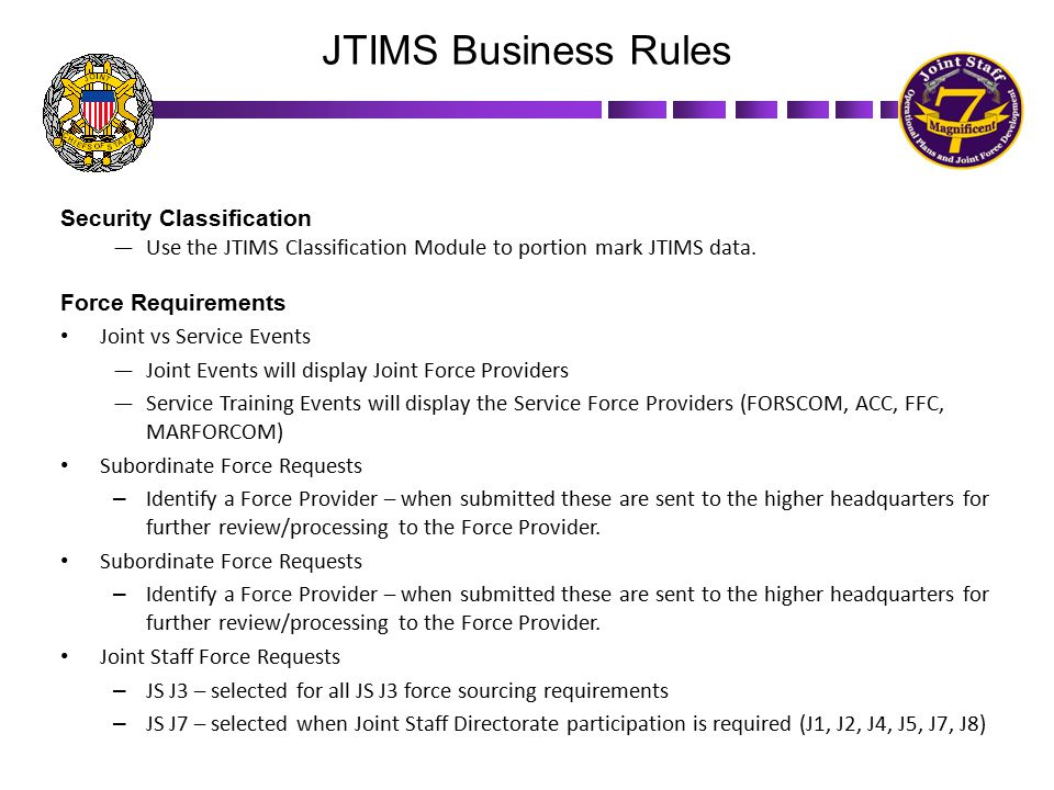 JTIMS Business Rules Security Classification