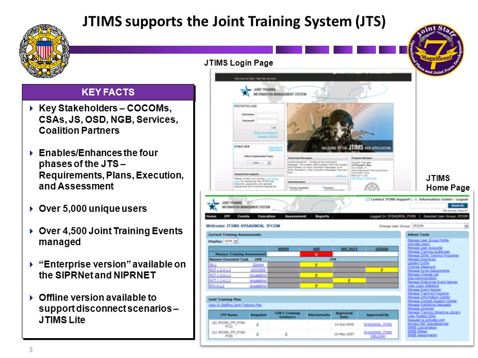 JTIMS supports the Joint Training System (JTS)