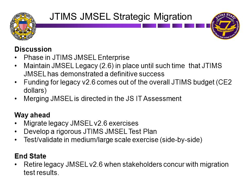 JTIMS JMSEL Strategic Migration