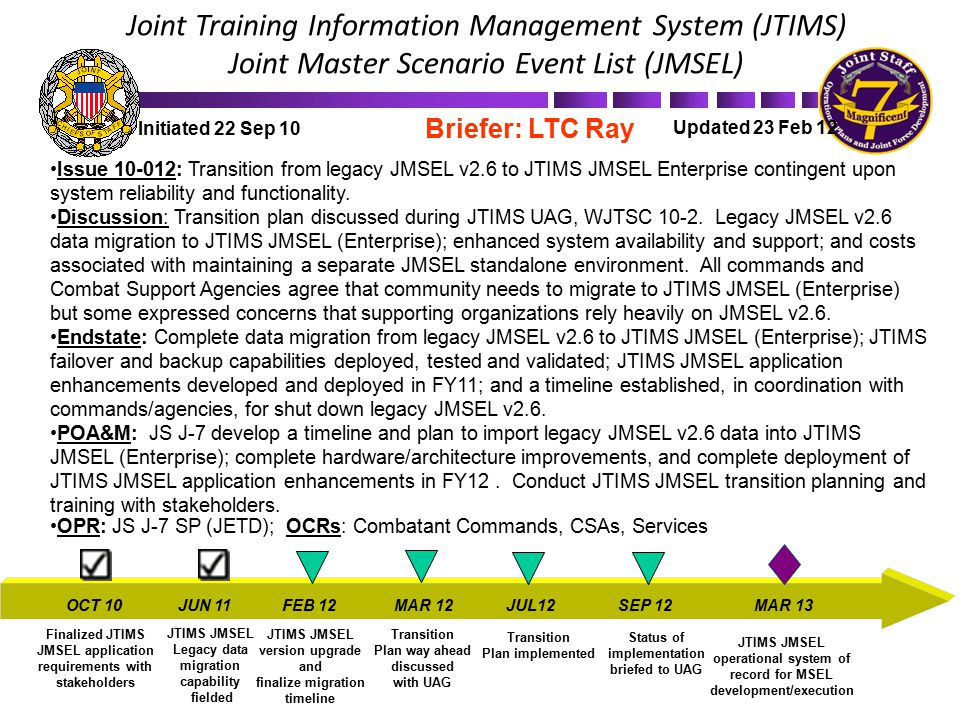 Joint Training Information Management System (JTIMS) Joint Master Scenario Event List (JMSEL)