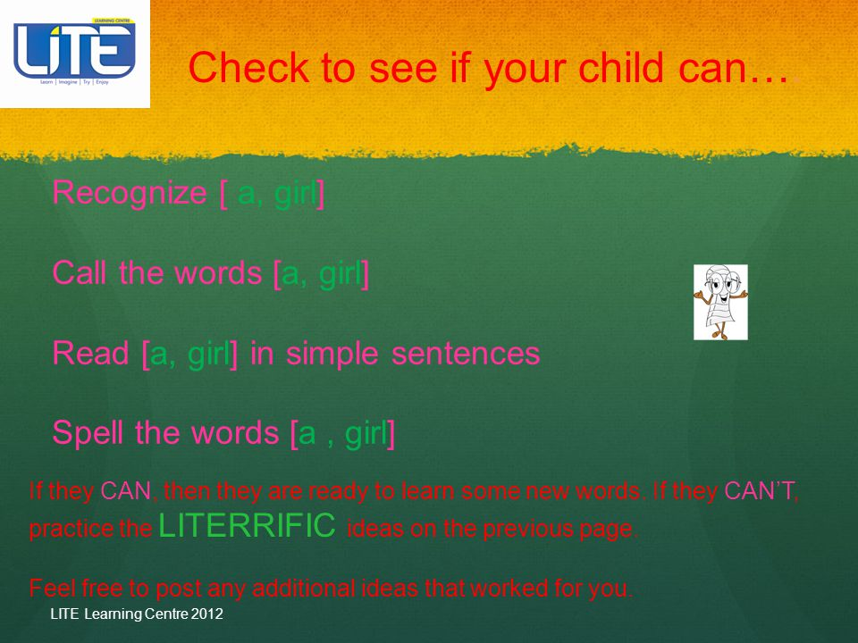 Check to see if your child can….