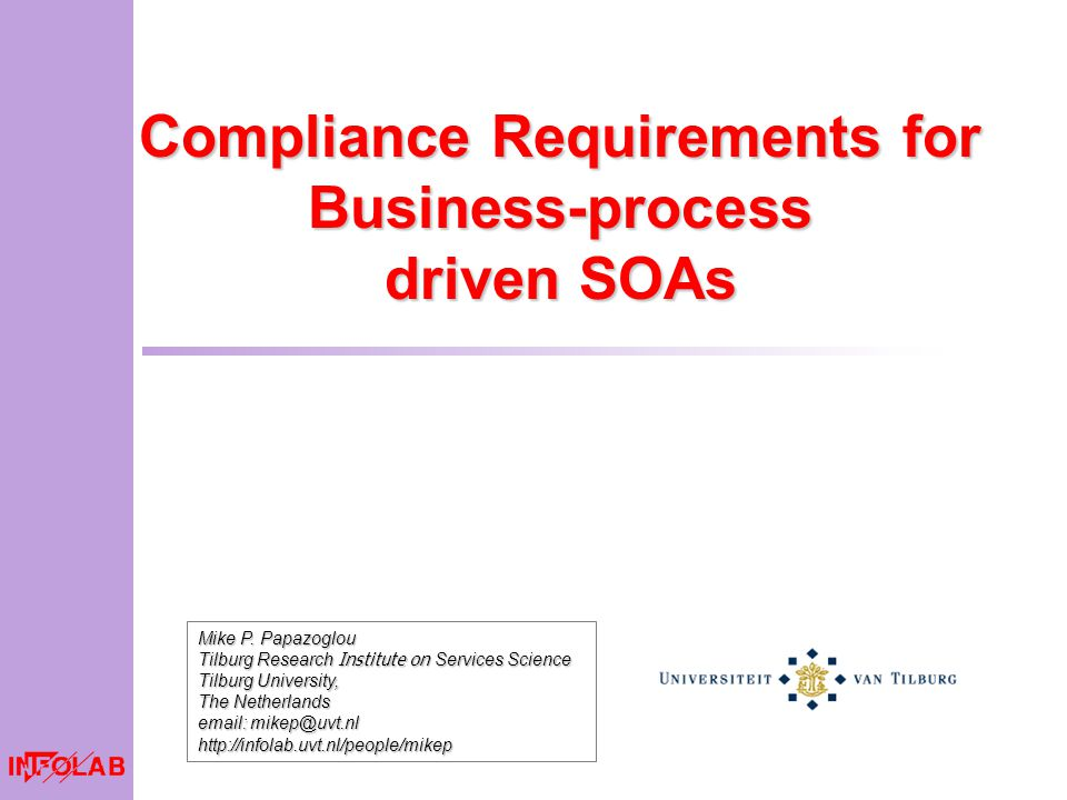Compliance Requirements for Business-process driven SOAs