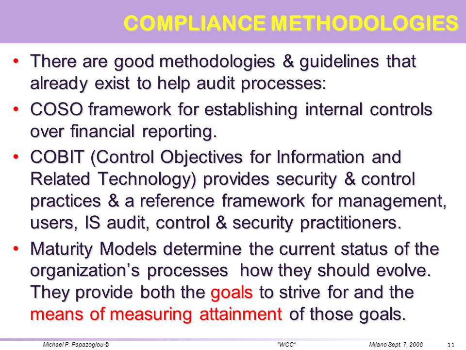 COMPLIANCE METHODOLOGIES