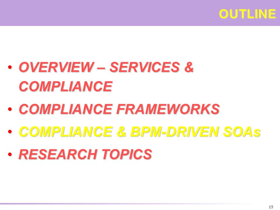 OVERVIEW – SERVICES & COMPLIANCE COMPLIANCE FRAMEWORKS