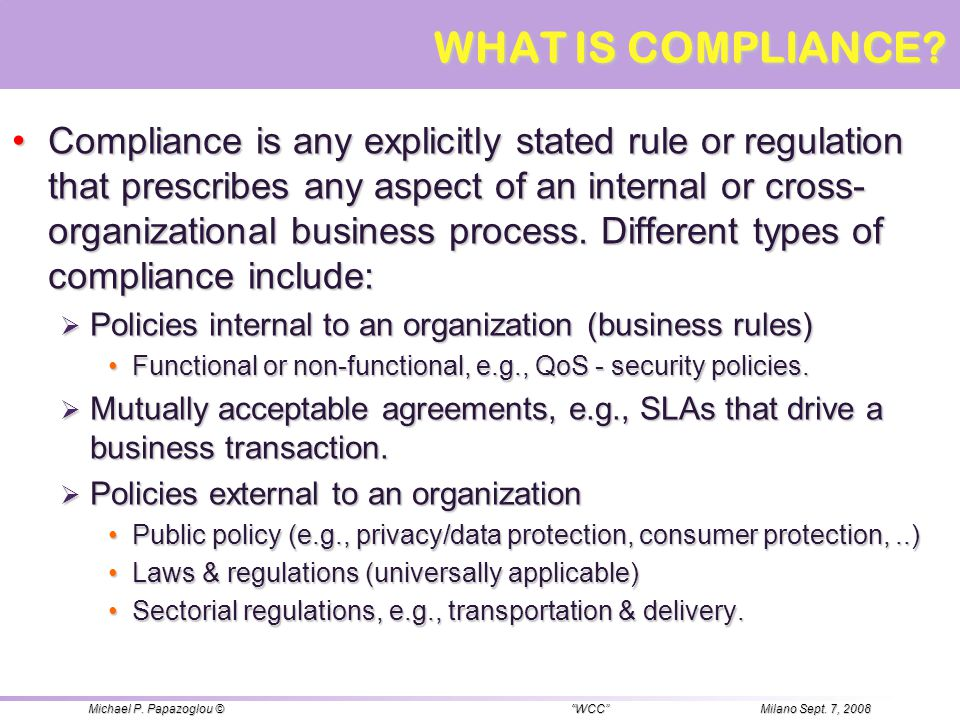WHAT IS COMPLIANCE