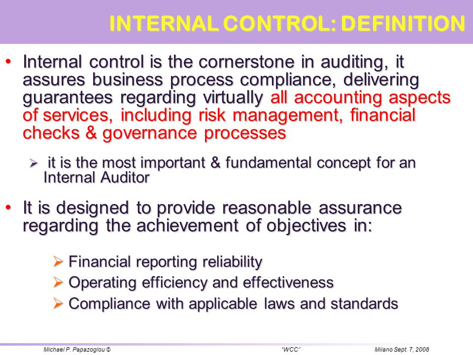 INTERNAL CONTROL: DEFINITION