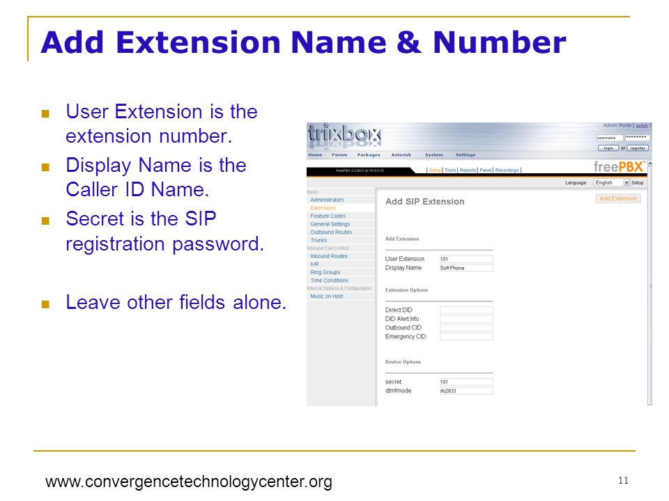 Add Extension Name & Number