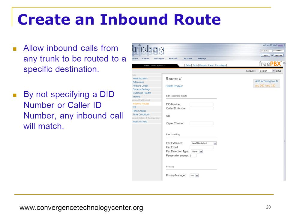 Create an Inbound Route