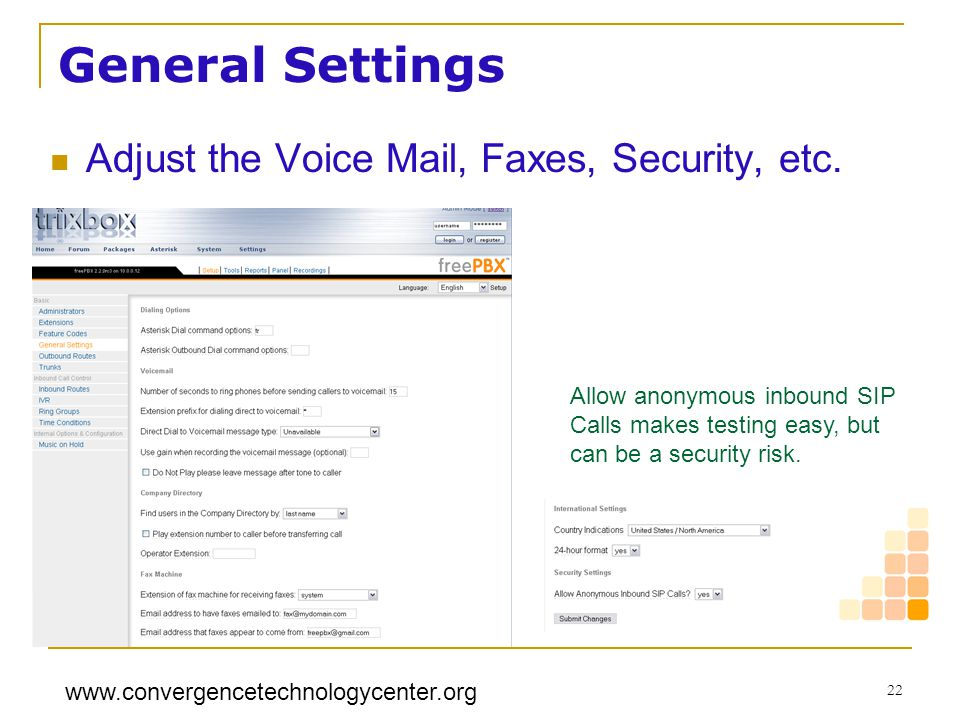 General Settings Adjust the Voice Mail, Faxes, Security, etc.