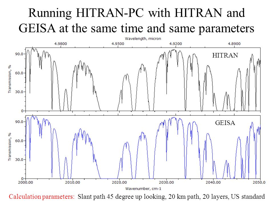 Running HITRAN-PC with HITRAN and GEISA at the same time and same parameters