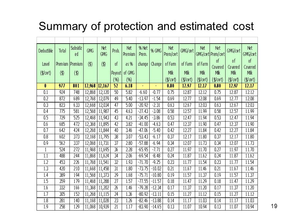 Summary of protection and estimated cost