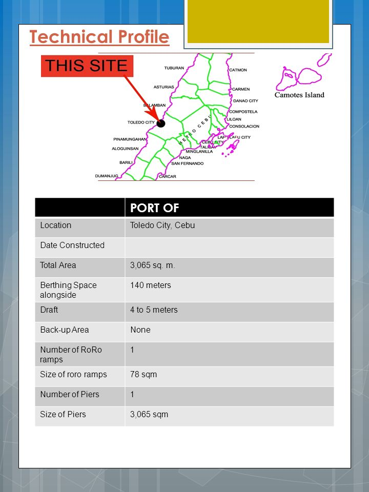 Technical Profile PORT OF Location Toledo City, Cebu Date Constructed