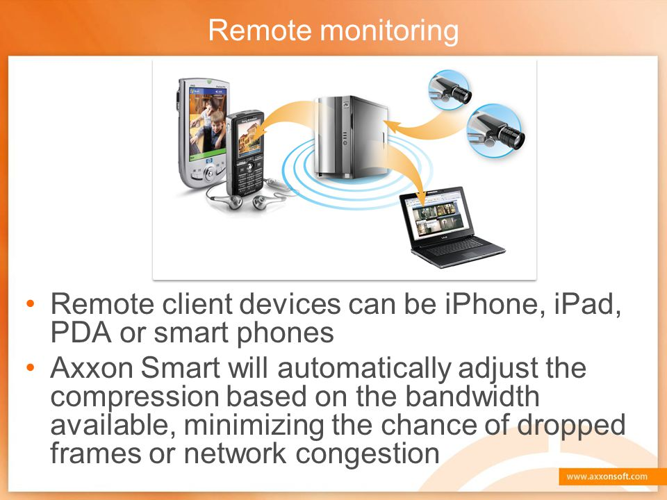 Remote monitoring Remote client devices can be iPhone, iPad, PDA or smart phones.