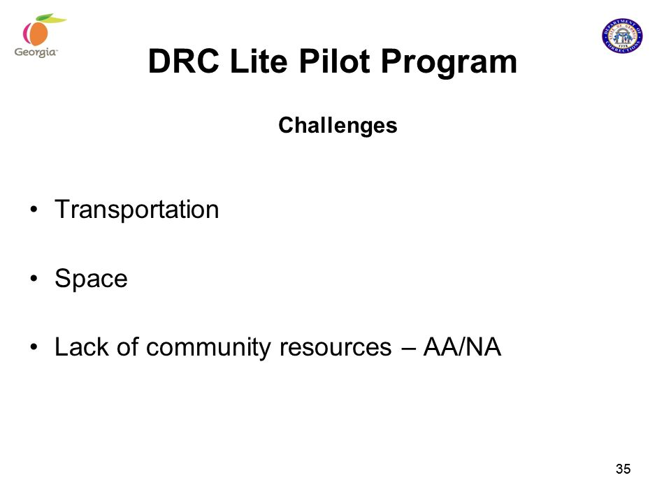 DRC Lite Pilot Program Transportation Space
