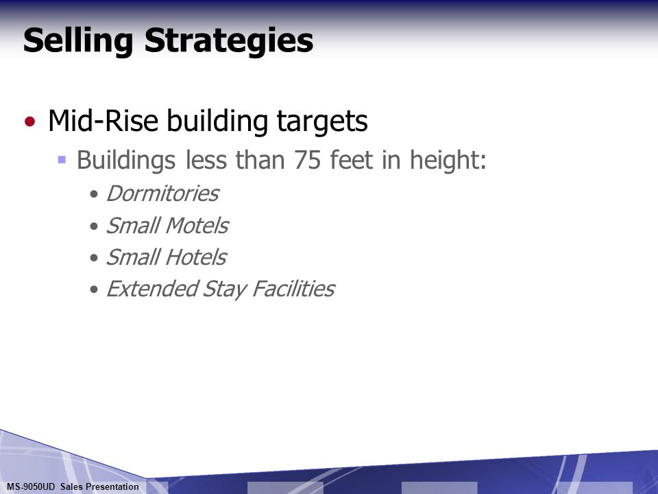 Selling Strategies Mid-Rise building targets