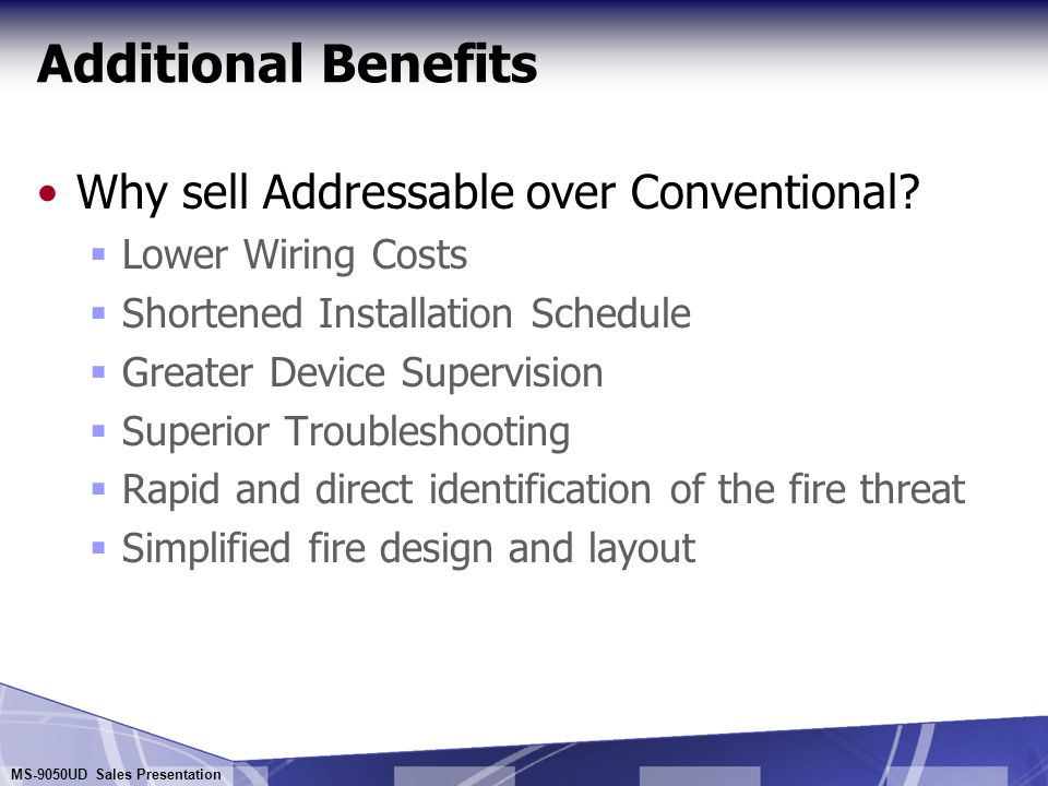 Additional Benefits Why sell Addressable over Conventional