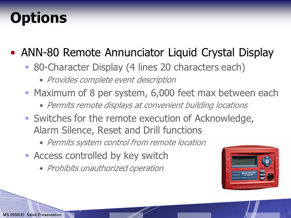 Options ANN-80 Remote Annunciator Liquid Crystal Display