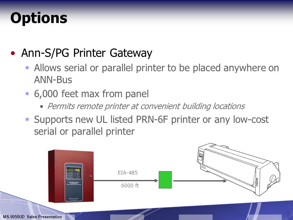 Options Ann-S/PG Printer Gateway