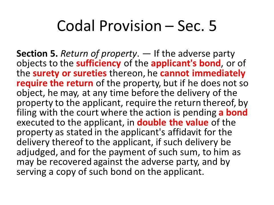 Codal Provision – Sec. 5