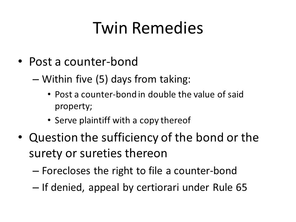 Twin Remedies Post a counter-bond