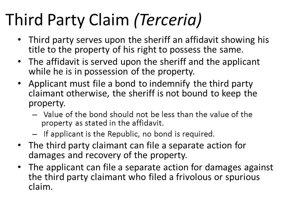 Third Party Claim (Terceria)