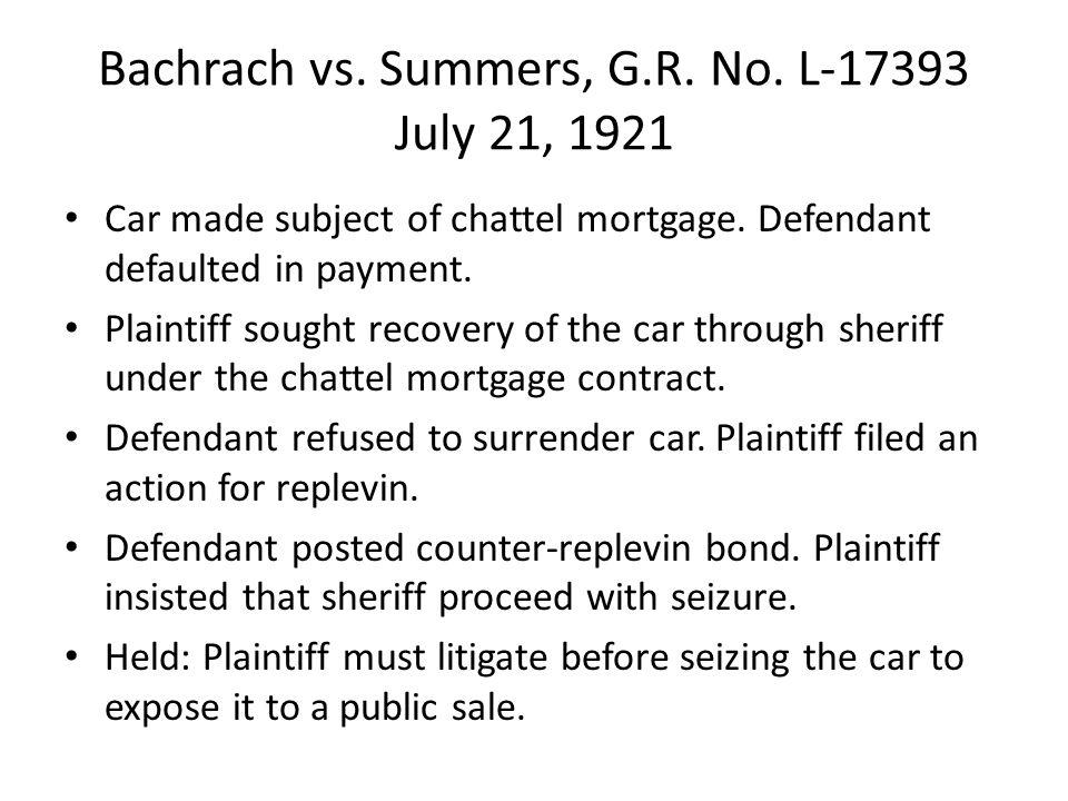 Bachrach vs. Summers, G.R. No. L-17393 July 21, 1921