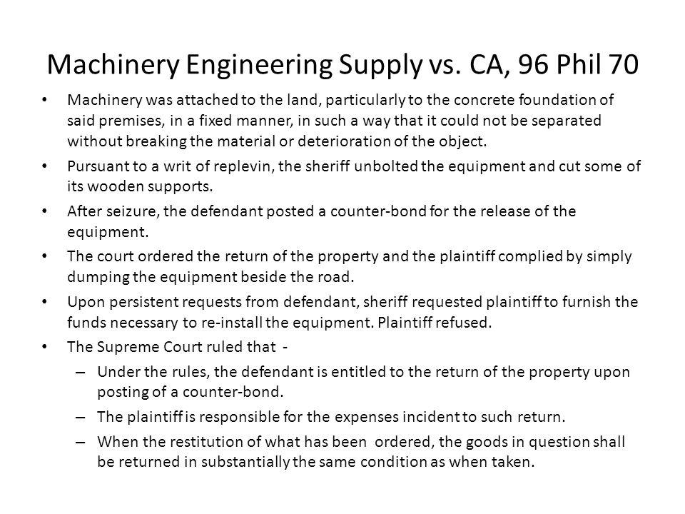 Machinery Engineering Supply vs. CA, 96 Phil 70