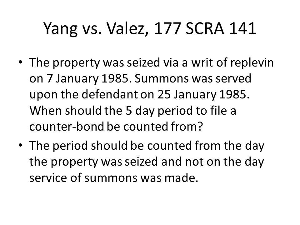 Yang vs. Valez, 177 SCRA 141