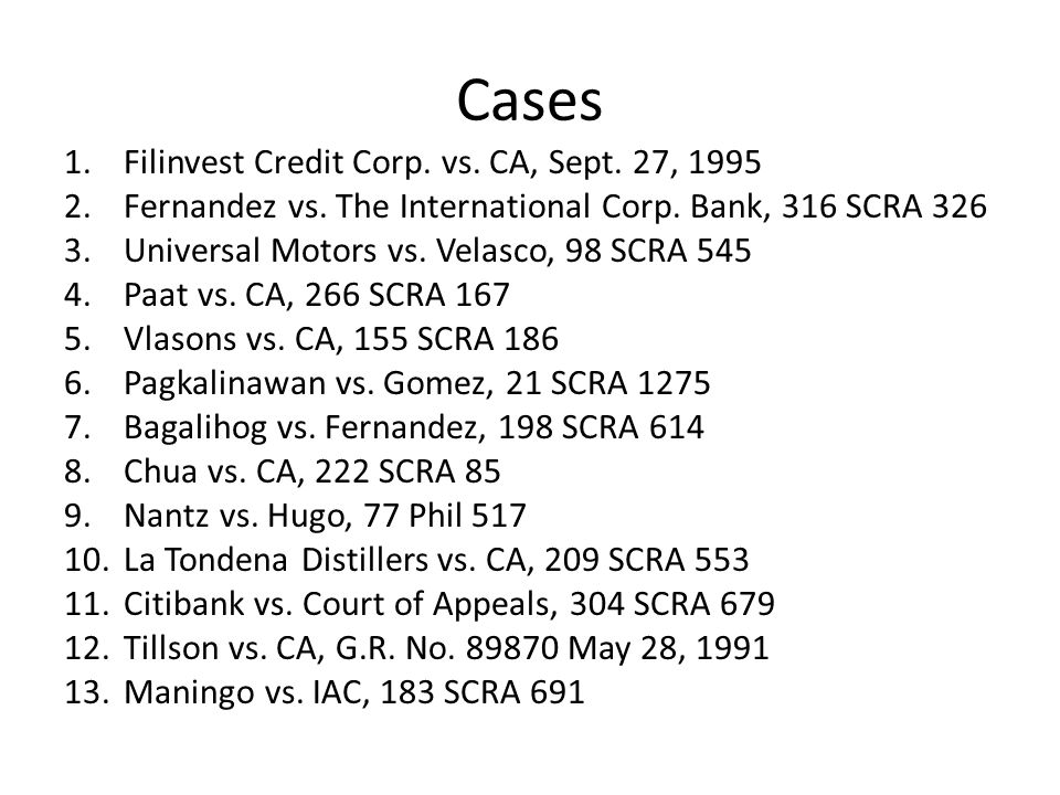 Cases Filinvest Credit Corp. vs. CA, Sept. 27, 1995