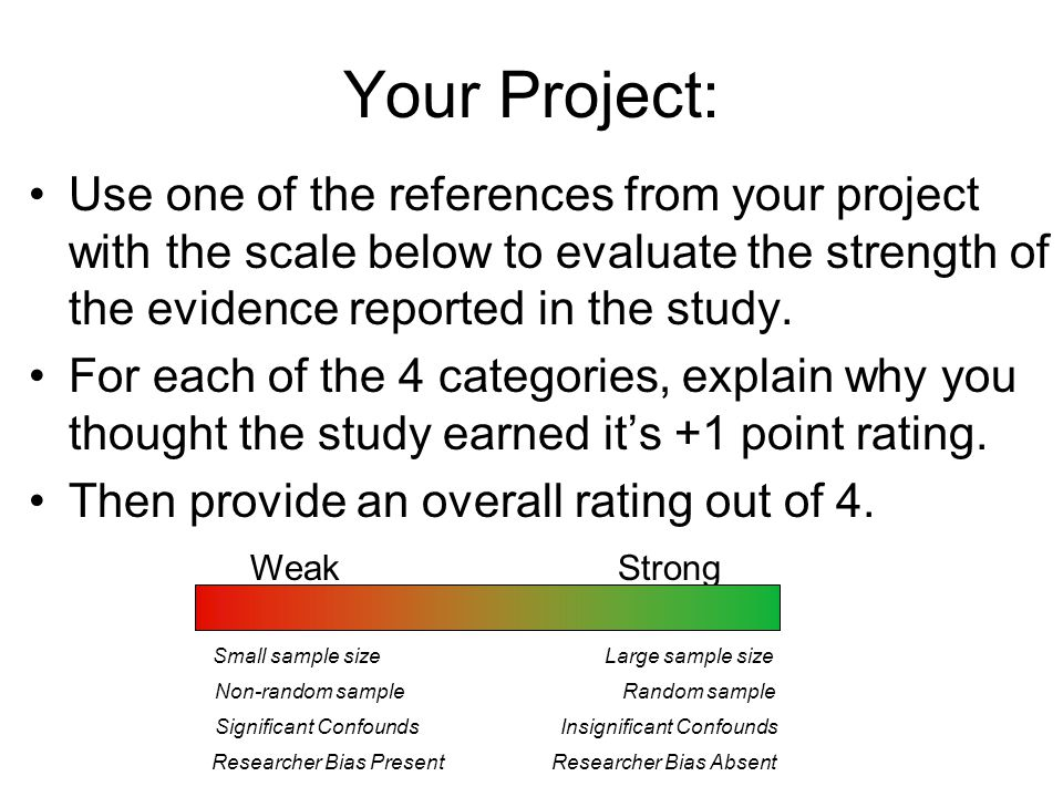 Your Project: Use one of the references from your project with the scale below to evaluate the strength of the evidence reported in the study.