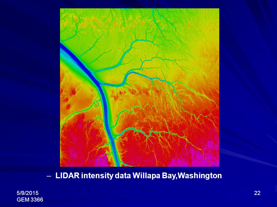 LIDAR intensity data Willapa Bay,Washington