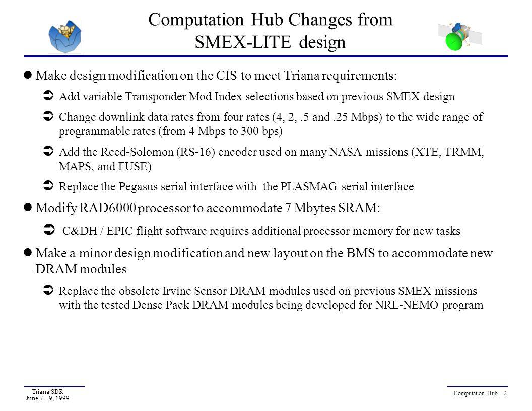 Computation Hub Changes from SMEX-LITE design