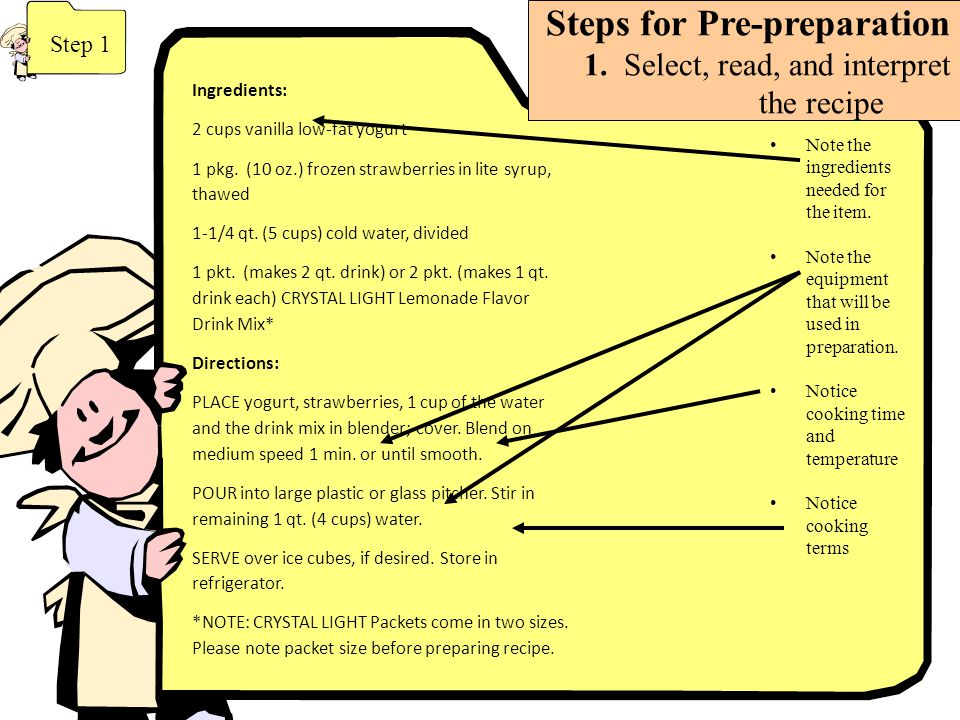 Steps for Pre-preparation 1. Select, read, and interpret the recipe