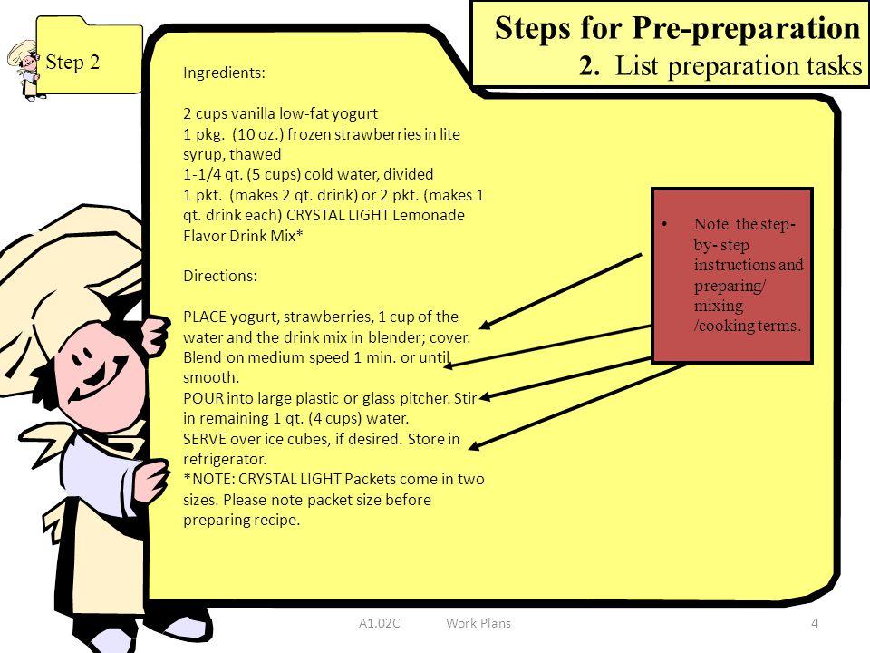Steps for Pre-preparation 2. List preparation tasks