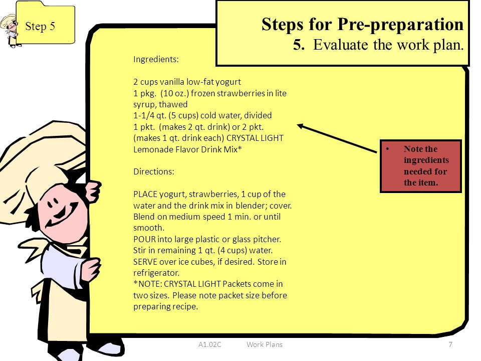 Steps for Pre-preparation 5. Evaluate the work plan.