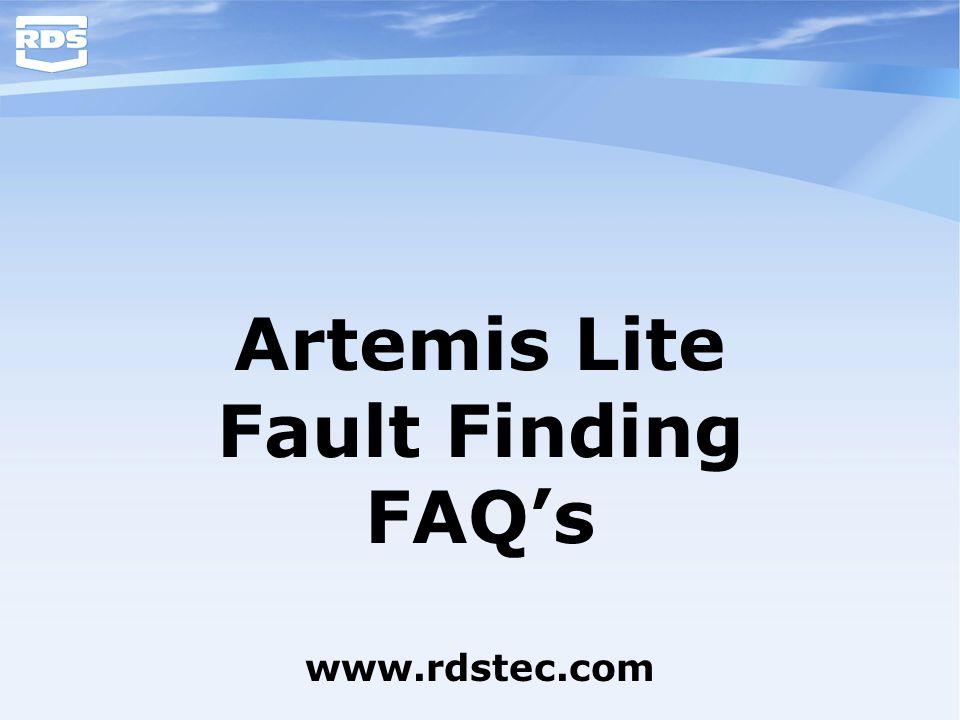 Artemis Lite Fault Finding FAQ's www.rdstec.com
