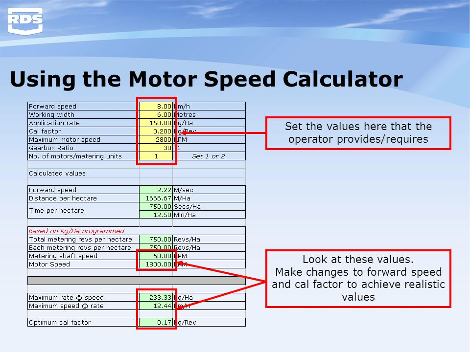 Using the Motor Speed Calculator