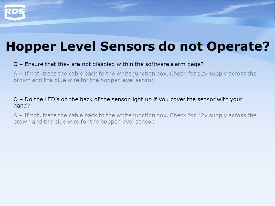 Hopper Level Sensors do not Operate