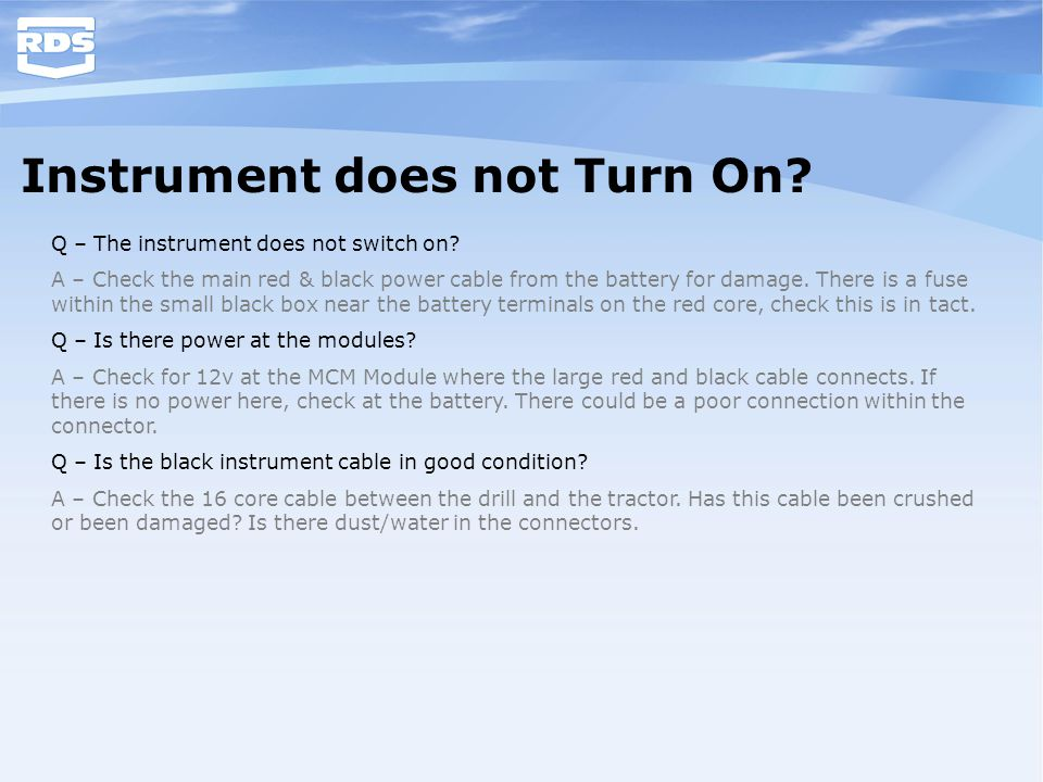 Instrument does not Turn On