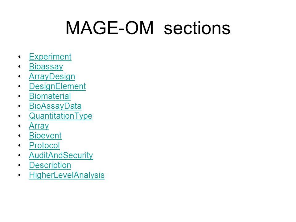 MAGE-OM sections Experiment Bioassay ArrayDesign DesignElement