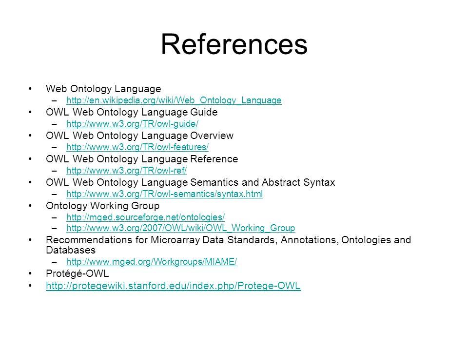 References Web Ontology Language OWL Web Ontology Language Guide