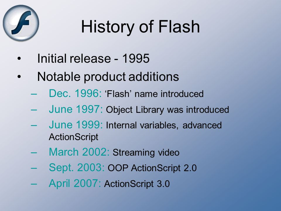 History of Flash Initial release - 1995 Notable product additions