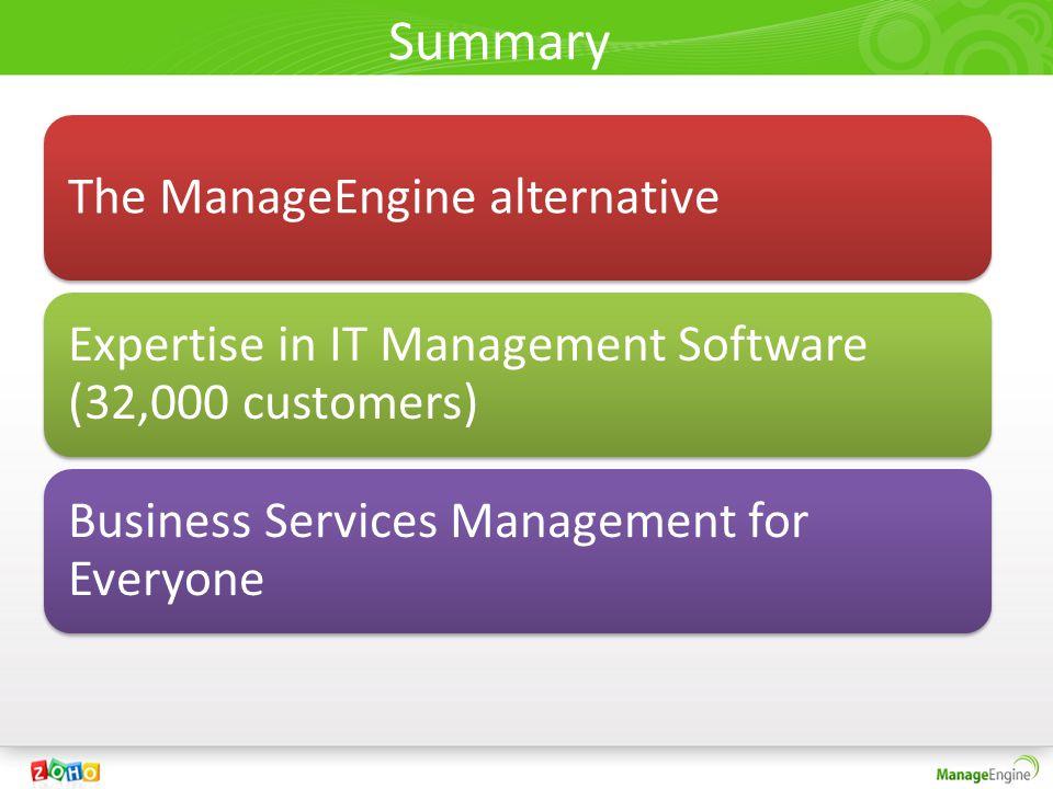 Summary The ManageEngine alternative