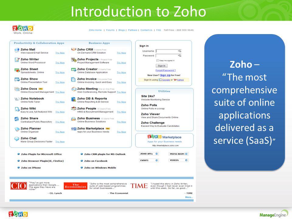 Introduction to Zoho Zoho –