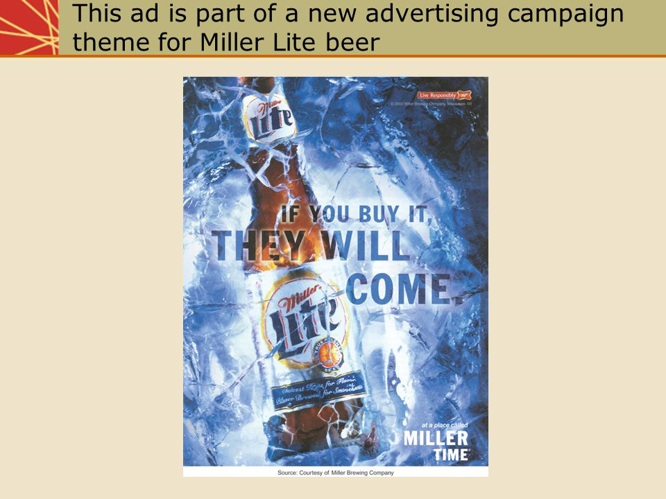 This ad is part of a new advertising campaign theme for Miller Lite beer