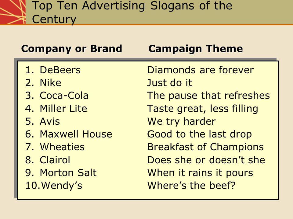Top Ten Advertising Slogans of the Century