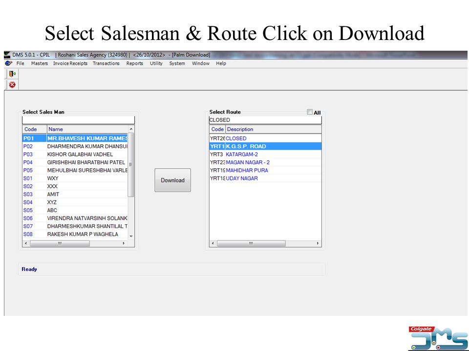 Select Salesman & Route Click on Download